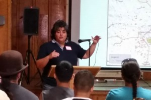 Nevada County Environmental Health Director Amy Irani speaks to volunteers as part of pre-posting training on July 11, 2015