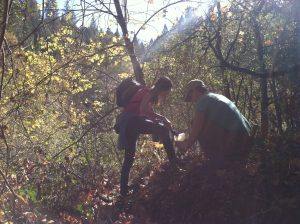 Collecting soil samples, fall 2013