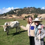 TSF CEO Elizabeth Martin and Ione Valley LAWDA co-founder Sondra West-Moore at Westhaven Ranch. 50 year old un-reclaimed mining scars are visible in the background.