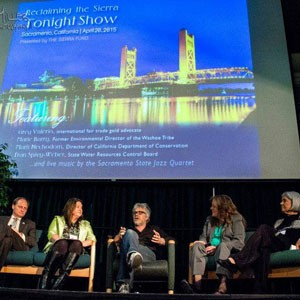 "The ""Reclaiming the Sierra Tonight Show"" was a conference highlight - a talk-show styled panel of keynotes featuring (from left) Director of Department of Conservation Mark Necodom, former Environmental Director of the Washoe Tribe Marie Barry, international fair trade jewelry advocate Greg Valerio, TSF CEO Elizabeth Martin, and State Water Resources Control Board Vice Chair Frances Spivy-Weber."