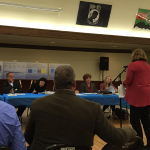 The Sierra Fund CEO Elizabeth Martin addresses the California Water Commission at a hearing in Yuba City.